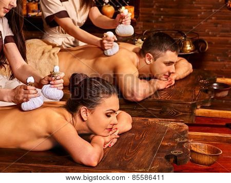 Couple  having oil Ayurveda spa treatment.
