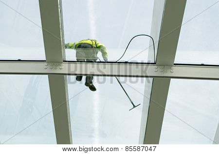 Glass Ceiling Being Cleaned