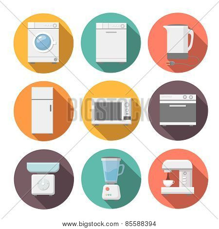 Set of household appliances flat icons on colorful round web buttons with a washing machine.