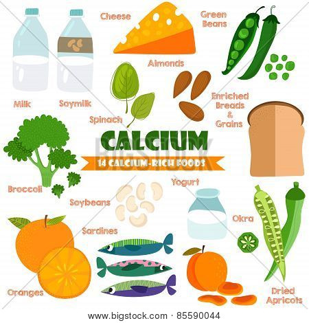 Vitamins And Minerals Foods Illustrator Set 15.vector Set Of 14 Calcium Rich Foods. Calcium-milk, So