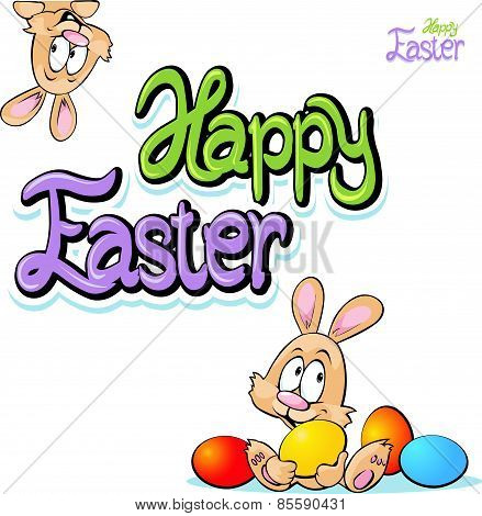 Happy Easter Text- Design With Bunny, Eggs