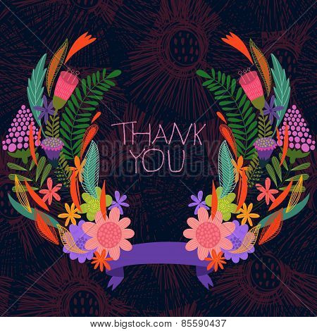 Thank You Card-stylish Floral Background With Ribbon