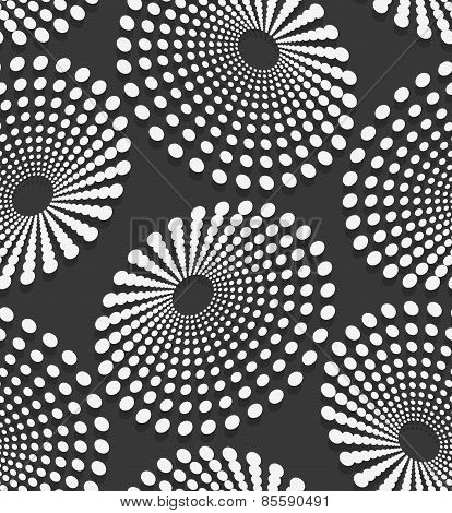 Geometrical Pattern With White Dotted  Concentric Ovals
