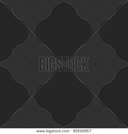 Monochrome Pattern With Black Wavy Guilloche Squares