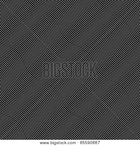 Monochrome Pattern With Diagonal Wavy Guilloche Texture