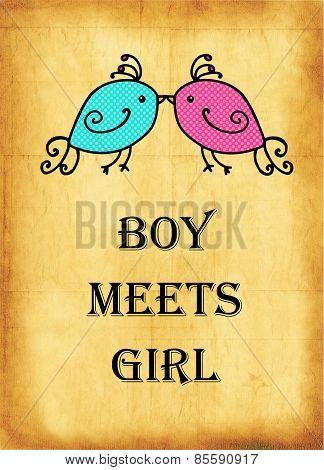 Boy Meets Girl Vintage Background Dating Poster