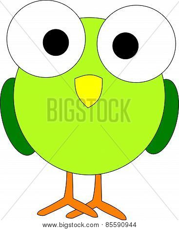 Green Googly Eyes Fun Cartoon Bird