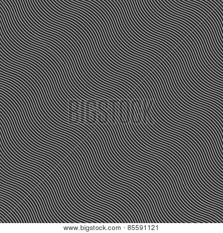 Monochrome Pattern With Light Gray And Black Diagonal Wavy Guilloche Texture