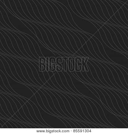 Monochrome Pattern With Thin Gray Wavy Diagonal Lines