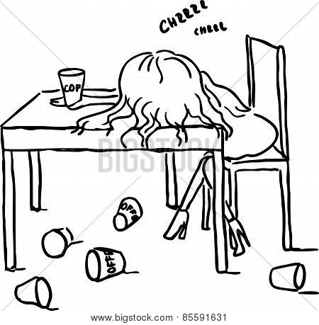Woman Sleep With Coffee On Table - Black Line Vector Illustration