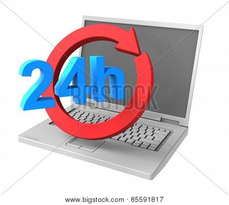 24 hours a day and 7 days a week service sign. Computer generated 3D photo rendering.