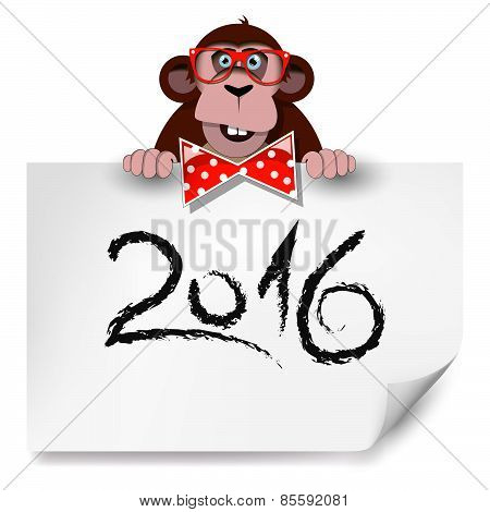 Cartoon Monkey With Glasses Holding A Sheet Of Paper On Which Is Written 2016.