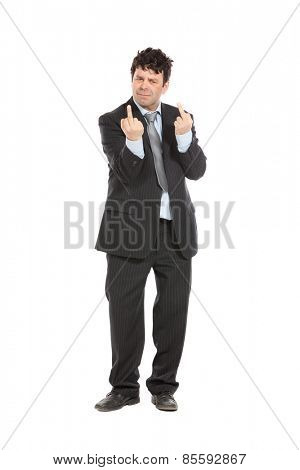 businessman giving middle finger, portrait in studio