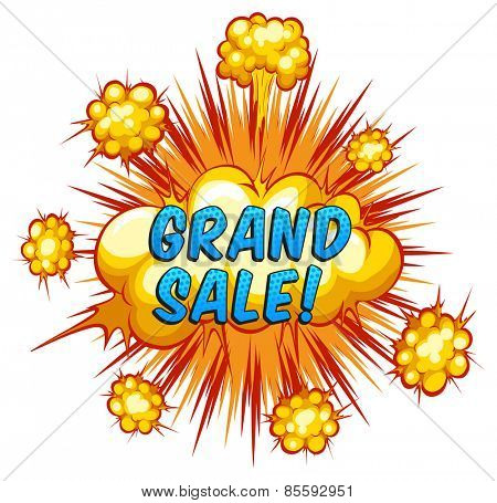 Word 'grand sale' with cloud explosion background