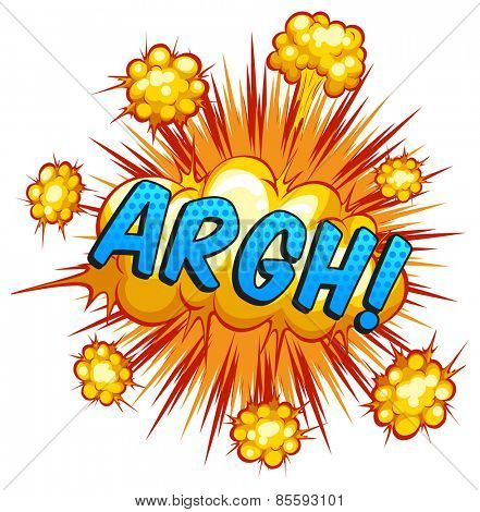 Word 'argh' with cloud explosion background
