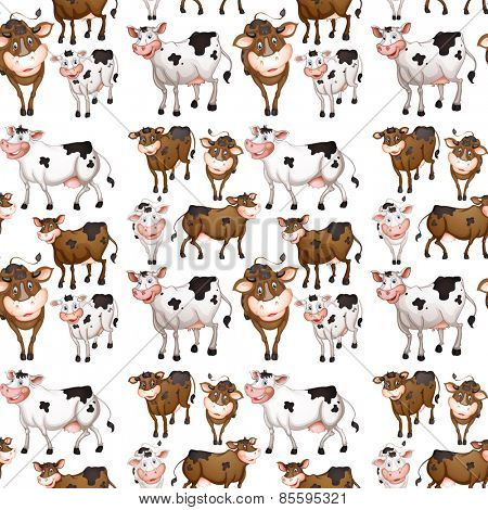 Seamless cow in different positions