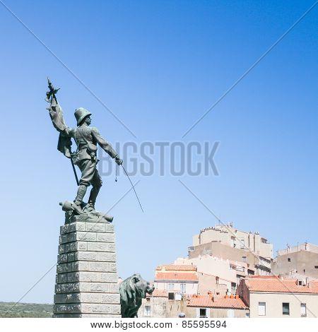 War Memorial in Bonifacio - France .