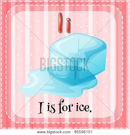Flash card letter I is for ice