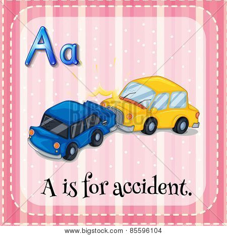 Flash card letter A is for accident