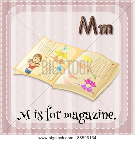 Flash card letter M is for magazine