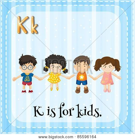 Flash card letter K is for kids
