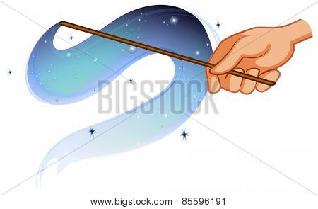 Magic wand with shiny waves