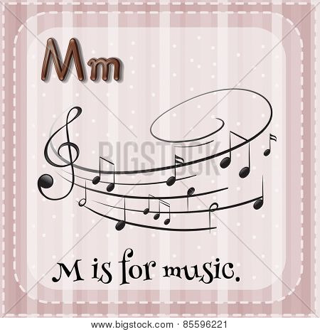 Flash card letter M is for music