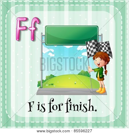 Flash card letter F is for finish
