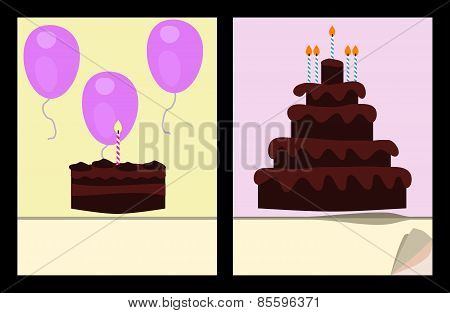 Workbook cover template with birthday cakes and air balloons