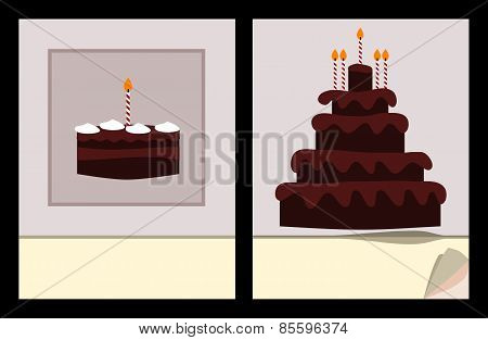 Workbook cover template with small and big birthday cake