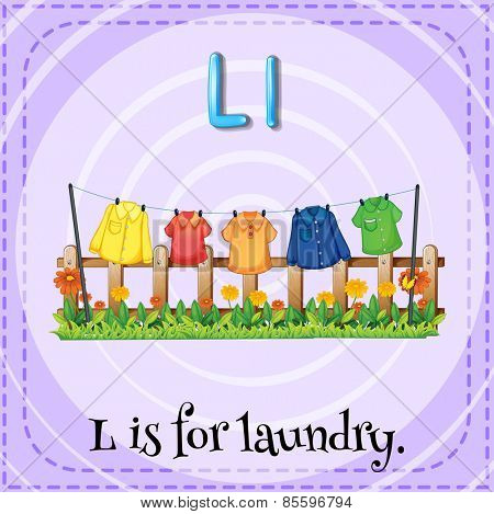 Flash card letter L is for laundry