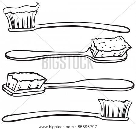 Four different designs of toothbrushes with paste