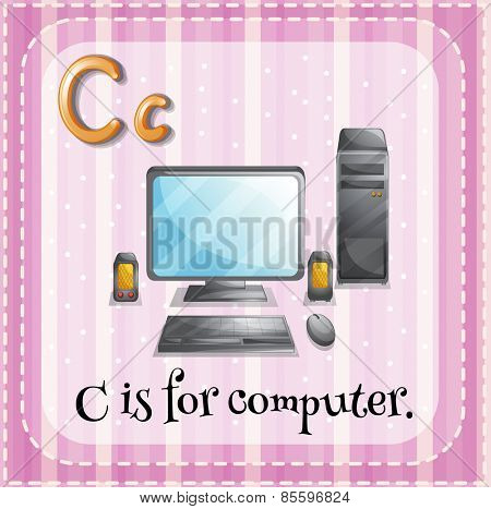 Flash card letter C is for computer