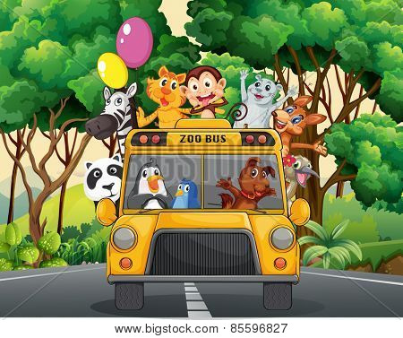 Different animals riding on a zoo bus