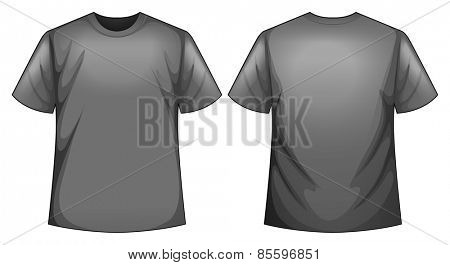 Front and back view of grey shirt