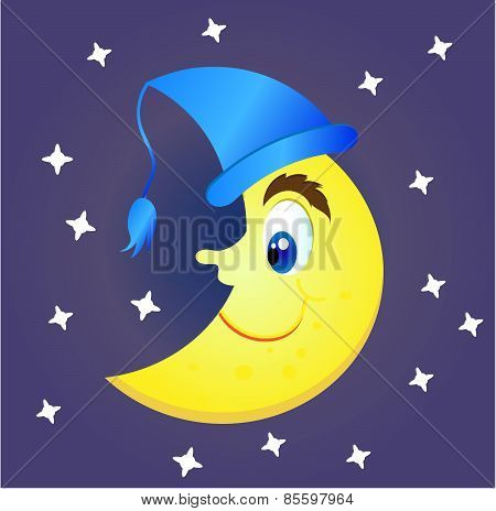 Smiling, yellow moon with a big nose and a blue cap. White stars on blue background.