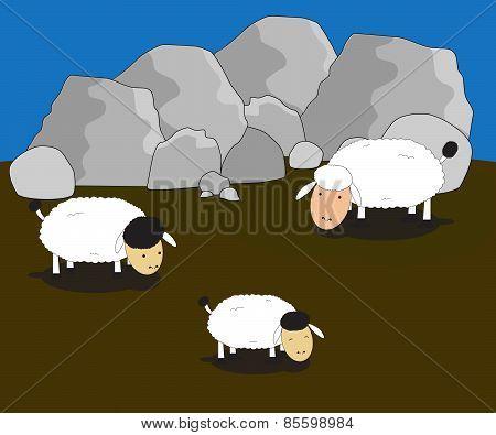 Vector Lamb Animal Family Eating Cartoon Illustrator Concept