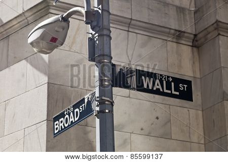 New York, Usa - Wall Street Street Sign On The Pole