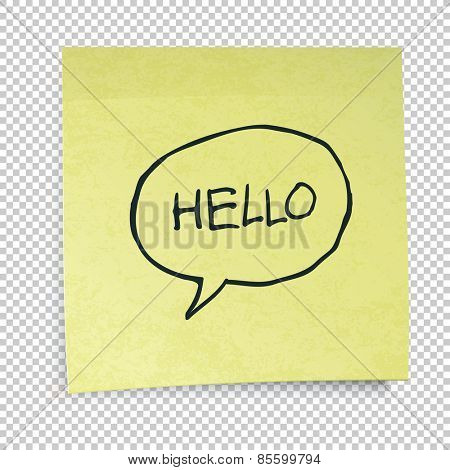 Yellow sticky notes with Hello Message. Isolated on transparent background