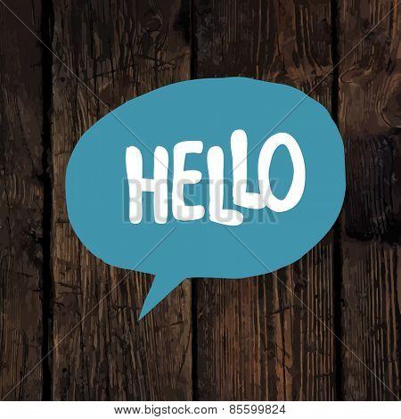 Hello word in blue speech bubble