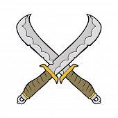 stock photo of crossed swords  - cartoon crossed swords - JPG