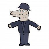 image of werewolf  - cartoon smartly dressed werewolf - JPG