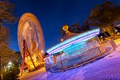 picture of amusement park rides  - Amusement Park in Donetsk at night - JPG