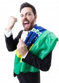 picture of brazilian money  - Businessman celebrating with the Brazilian flag on white background - JPG