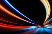 stock photo of flashing  - flash acceleration speed motion on night road - JPG