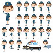 stock photo of police  - Set of various poses of police Woman - JPG