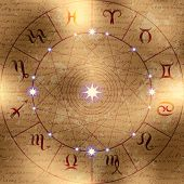 stock photo of libra  - Magic circle of zodiac signs on manuscript background - JPG