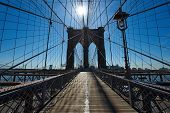 picture of brooklyn bridge  - Brooklyn bridge pillar with sun back light - JPG