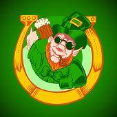 stock photo of leprechaun  - Leprechaun holding a mug of beer in his hand and smoking pipe - JPG