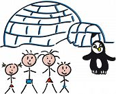 stock photo of igloo  - drawing of an igloo with penguins panorama with family - JPG